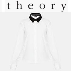 Theory Velvet Stretch Button-Down Shirt Sz P